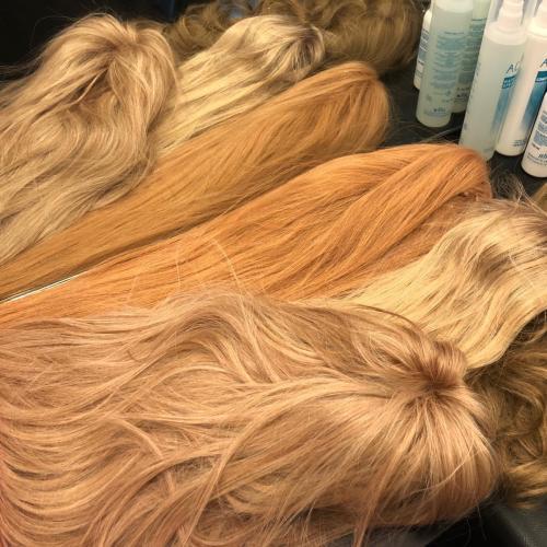 Blonde parykker,  ægte langt hår