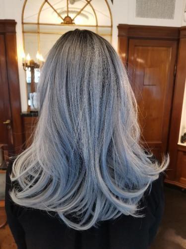 Blå fiber paryk