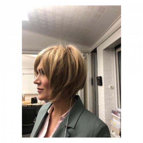 Smuk paryk, en blanding af ægte hår og en special fiber.